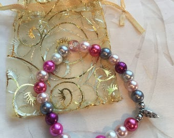Handcrafted 'made with love' beaded bracelet - pink white silver