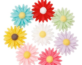 20 x Coloured Daisy Flower Sunflower Resin Cabochons 13mm Flat backed Embellishments