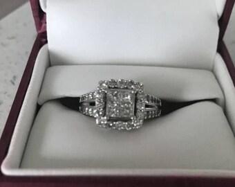 Engagement Ring Set Princess Cut 14K Gold (size 7)