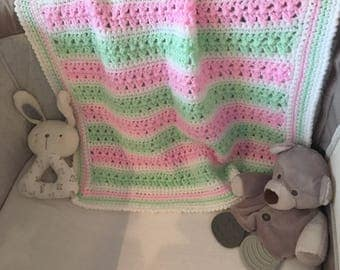 Pink baby blanket, pink and green blanket, newborn baby gift