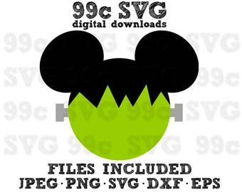 Frankenstein Mickey Mouse SVG DXF Png Vector Cut File Cricut Design Silhouette Cameo Vinyl Decal Disney Party Stencil Template Heat Transfer