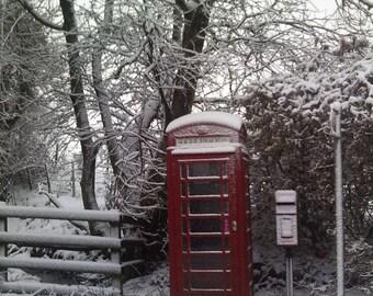 Canvas, photo, print, wall decor, winter, snow, Phone box, christmas