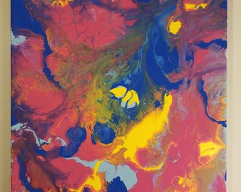 Dragons Breath, Orignial Abstract Acrylic Painting- Bold Colors
