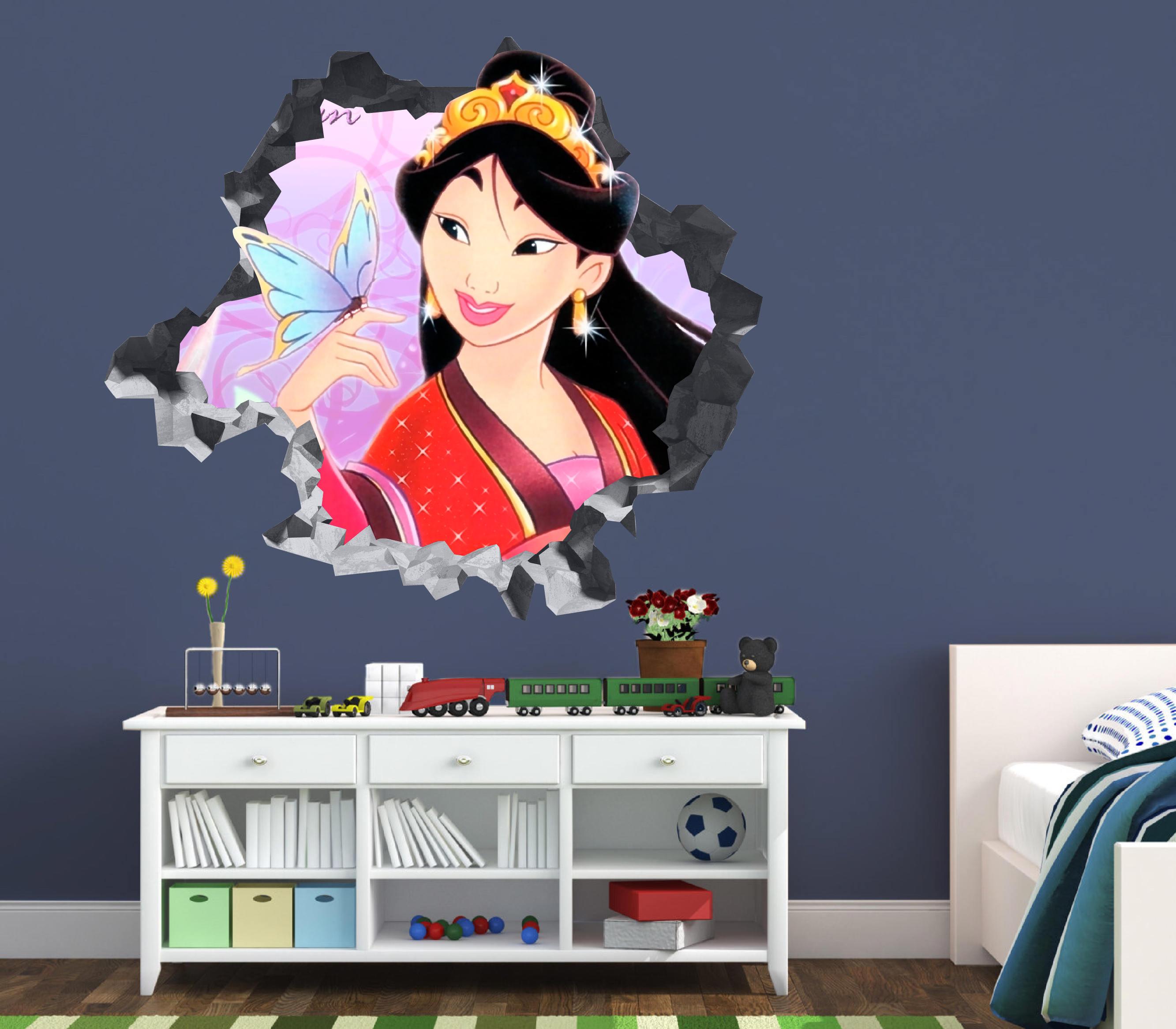 Princess Mulan Disney Wall Decal 3D Kids Sticker Art Decor Vinyl Character  Door OP180