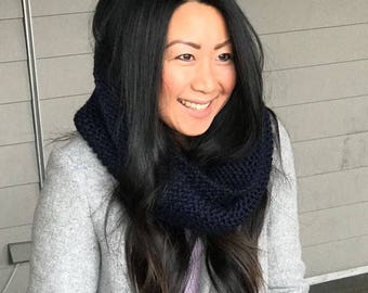 Adult Hand Knit Twisted Infinity Cowl Scarf Set