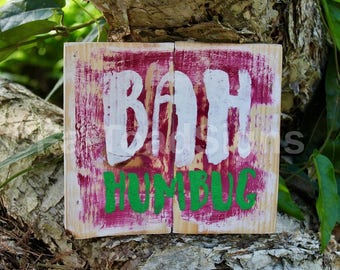 Bah Humbug Reclaimed Timber Sign, Rustic, Wood Signs, Christmas Signs, Hand Painted, Handmade, Distressed Timber Signs, Fun, Words on Wood