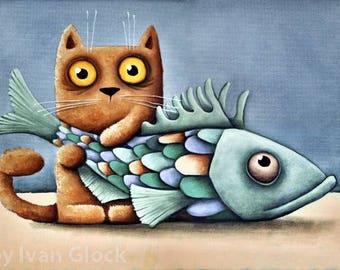 Cat with Fish, cat Drawing, Cute Cat, Cat cartoon, orange Cat