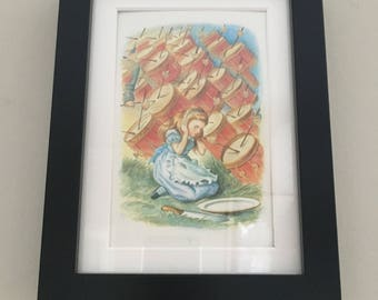 Classic Alice in Wonderland Illustration - framed Postcard - Alice with Drums