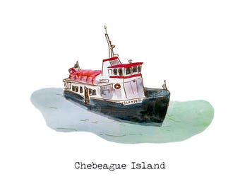 Maine Greeting Cards: Ferry Boat (customizable text)
