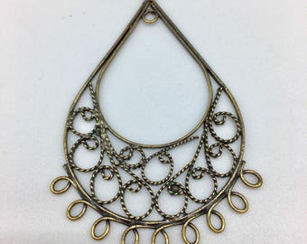 Print, Teardrop with scroll work pendant