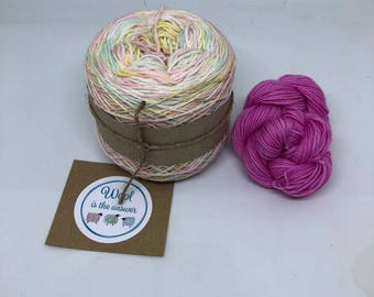 Hand Dyed 4 ply Superwash Merino - Unicorn Rainbow with pink mini skein