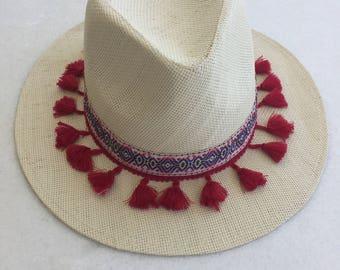 Handmade straw hat in red details