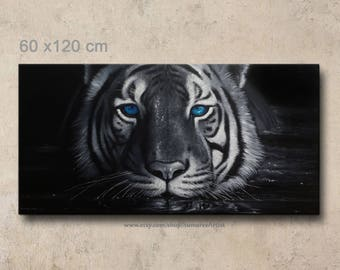 60 x 120 cm, black and white tiger paintings, blue eyes tiger oil painting on canvas, tiger wall decor
