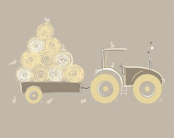 Farmyard Fun Card - Tractor with Hay (Blank Inside)