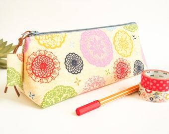 Lace Print Pencil Case, Zipper Pouch, Stationery Storage, Small Cosmetic Case, Makeup Brushes Pouch, Travel Organizer, Gift Idea for Student