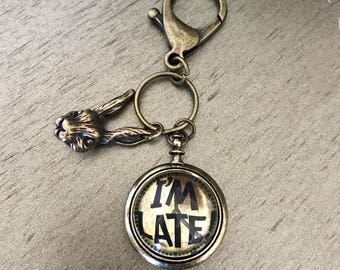 "Alice in wonderland quote ""I'm late"" antique gold keychain"