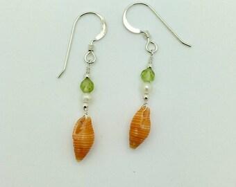 Orange Shell , Peridot & Freshwater Pearl Earrings on Sterling Silver