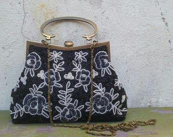 Vintage Small Bag Czech Glass Beads Metal Frame