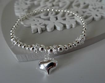 sterling silver heart stacking bracelet stretch bracelet