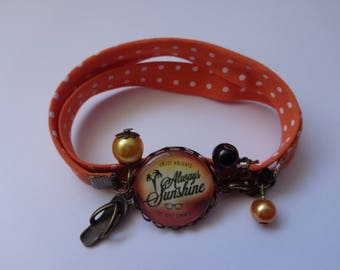 "Bracelet through bronze glass cabochon 20mm ""Vacation"" themed fabric."