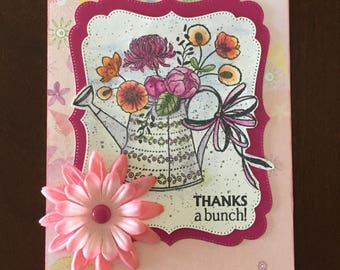 Thank you card, pink floral,  watering can image,  hand stamped, hand water colored