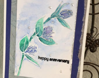 "Happy Anniversary card, Handmade card, Altenew stamp ""Floral Sprig"", Watercolor, Silver embossing,"