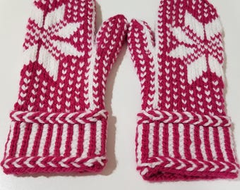 Hand Knit Snowflake Mittens