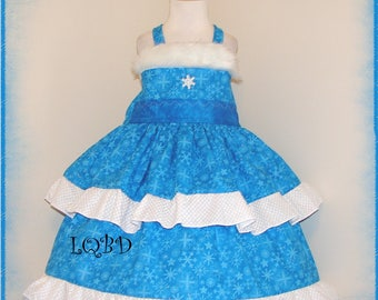 Girls - Blue Holiday Frozen Dress - Elsa - Ready to ship fits aprox 4/5 4T 5T - Christmas - Pageant - Snowflakes - Olaf