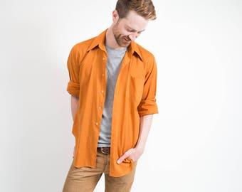 Vintage Orange Shirt / 1970's Mens Tarra Hall Long Sleeved Button up Causal Summer Shirt