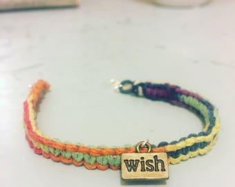 Wish charm colorful hemp bracelet