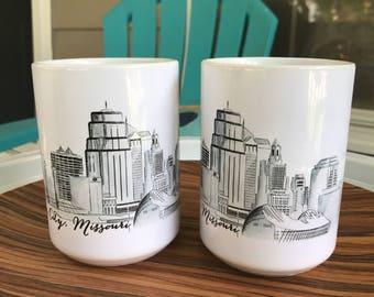 KC Skyline Watercolor Mug ~ Kansas City Mug ~ Kansas City Skyline Mug