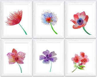 tropical flowers painting, flower prints set of 3, tropical flower print, tropical flower watercolor, tropical flower wall art