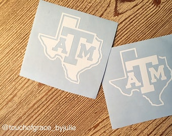 Texas Aggie Block Lonestar Decal / Texas Aggie Block State Decal