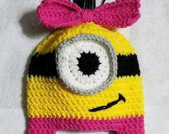 Minion crochet beanie