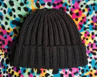 Ribbed crochet beanie #4