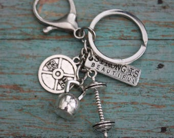 Strong Is Beautiful-Fitness Jewelry-Motivational Keychain-Kettlebell Charm-Weight Plate Charm-Dumbbell Charm-Personalize It