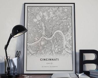 Cincinnati Map Poster Print Wall Art | Ohio Gift Printable Download |  Modern Map Decor For