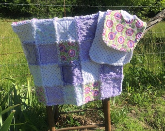 baby rag quilt, rag quilt, baby blanket, with burp cloth and bib