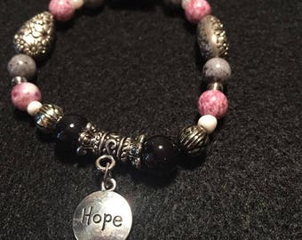 Black and Pink Beaded Bracelet with Hope Charm