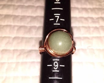 Copper Wire Wrapped jade Stone bead