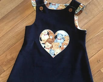 Navy Corduroy Girls Pinafore  Size 5