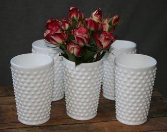 Fenton Hobnail Milk Glass Tumblers - Set of Five (5) / Hobnail Vases