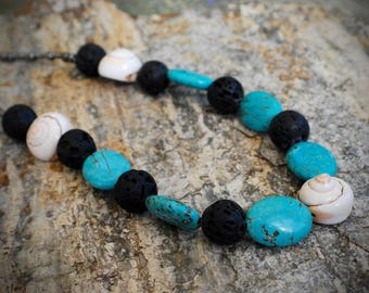 Turquoise necklace, Lava Rock necklace, Shell necklace, Beach jewelry, shell jewelry, stone jewelry Hawaiian jewelry