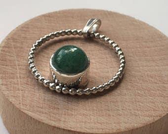Circle pendant with aventurine quartz
