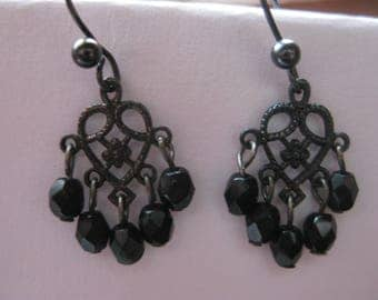 tiny dangle black bead earrings