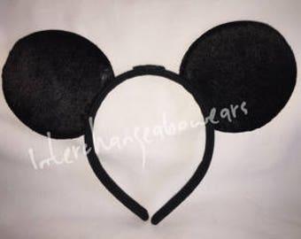 Plain Black Interchangeabow Mouse Ears