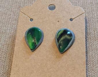 Tear drop, Silver and Green Earrings.