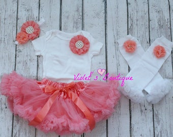 Coral pettiskirt outfit...Easter tutu outfit...baby girl dress outfit...Newborn take home outfit..Birthday outfit