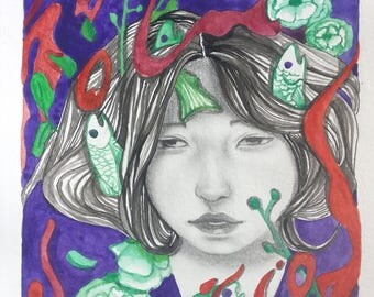 Original illustration drawing of '' Psychedelic  Dream'' wall art watercolor ink graphite on paper
