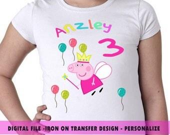 Peppa Pig Iron On Transfer , Peppa Pig Birthday Shirt DIY , Peppa Pig Printable File Shirt Design , Iron , Iron On Transfer , Digital File